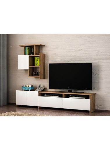 Dekorister Mariposa Kitaplıklı Tv Ünitesi Ceviz-Beyaz Renkli